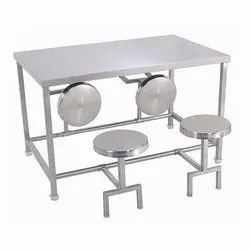 Synergy Technics 4 Seater SS Canteen Dining Table, For Commercial