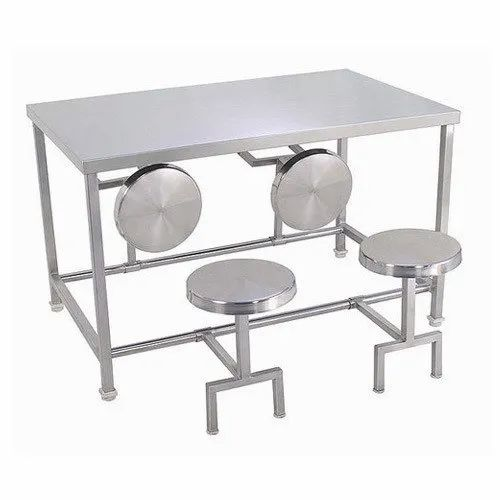 4 Seater SS Canteen Dining Table