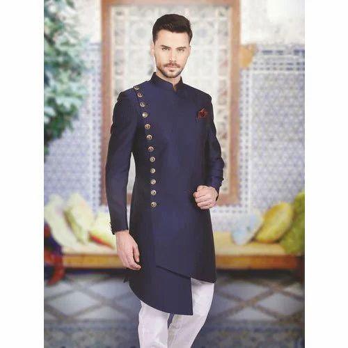 ROYAL Kurta Mens Designer Indo Western Sherwani 44 Red