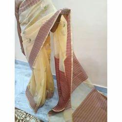 Supernet Saree with Patola Pallu & Blouse Piece, Saree Length: 5.5 m
