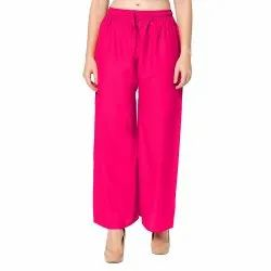 Pink Casual Wear Regular Fit Plain Rayon Palazzo Pants, 28 Inches