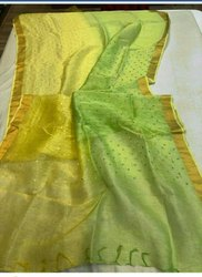 Linen Silk Saree With Hand Motiff Work With Zari Border