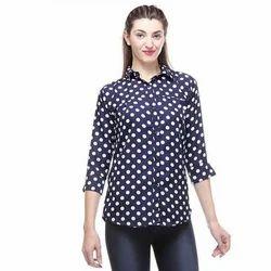Ladies Crepe Shirt Polka Dot