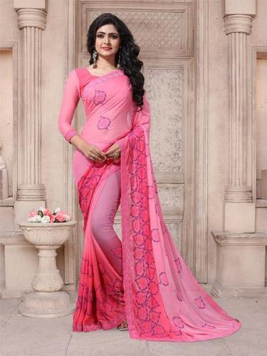358896669e Georgette Pink Embroidered Saree with Blouse Piece, Saree Length: 5.5 m