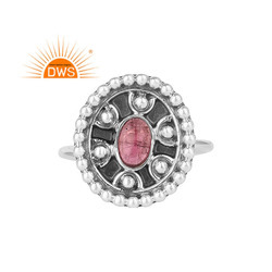 Oxidized Silver Supplier Designer Pink Tourmaline Gemstone Rings