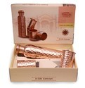 CopperKing Gift Set _ Hammered Dholak Glass & Copper Bottle