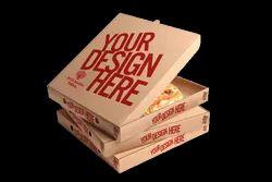 8 Inch Brown Corrugated Pizza Box - Design Print