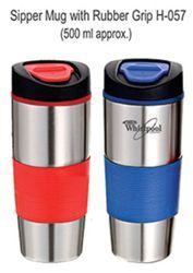 Black Stainless Steel Sipper Mug with Rubber Grip for Gifting