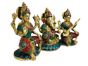 Nirmala Handicrafts Brass Lakshmi Ganesha Saraswati  Statue Stone Work Set/3 Indian God Idol