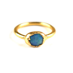 Fire Opal Ring Faceted Blue Gemstone Gold Plated Ring