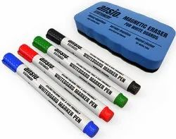 White Board Marker Pen Eraser (4 Pcs Pen   Eraser Set)