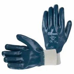 Blue Nitrile Knit Wrist Gloves