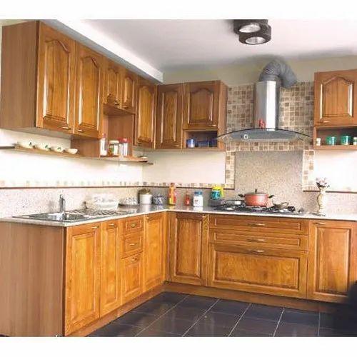 Matte L Shaped Wooden Modular Kitchen