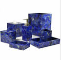 Modern Diamond Polish Lapis Bath Set