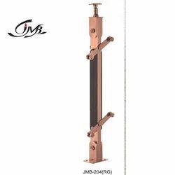 Rose Gold Finish Stainless Steel Wooden Railing Pillar