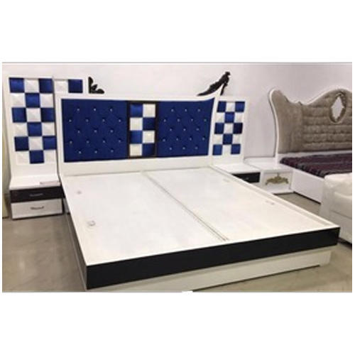 White Blue Low Platform Double Bed
