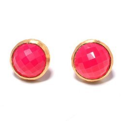Hot Pink Chalcedony Gemstone Earstud Handmade Trendy Hot Simple Model Jewelry Stud