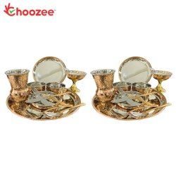 Choozee Copper Thali Set of 2 (24 Pcs) of Plate, Bowl, Spoon, Matka Glass, Ice-Cream Cup,