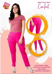 Plain Comfort Pink Ladies Cotton Pant, Waist Size: Free Size
