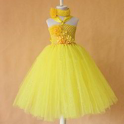 Girls Yellow Kids Birthday Dress