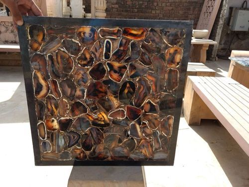 Black Grey Agate Semi Precious Stone Tiles & Slabs, 20-25 mm
