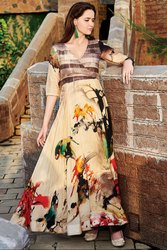 Fawn and Brown Digital Print Flared Gown