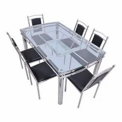 Black SS Dining Table Set, For Home