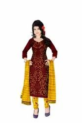 Maroon And Golden Color Fancy Design Cotton Satin Bandhani Dress Material