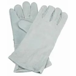 Grey Leather Safety Gloves, Size: Free