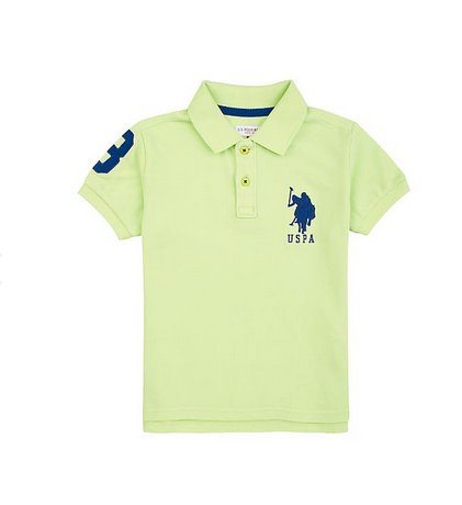 d9c4188dc29 Light Green U S Polo Assn Boys Solid Piqued Cotton Polo Shirt