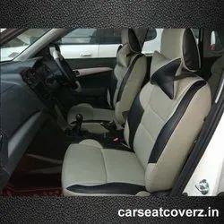 Beige Front & Back Designer Leather Car Seat Cover, Features: Waterproof,Dustproof
