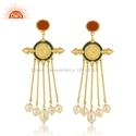 Hand Craved Designer Gold Plated Silver Pearl Enamel Earrings Jewelry