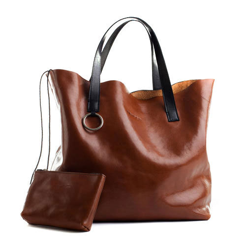 Synthetic Leather Brown Ladies Bag