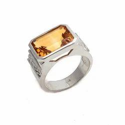 Citrine Natural Gemstone Mens Choice Party Wear Wedding 92.5 Handmade Ring
