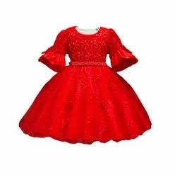 Red Embroidered Girls PartyWear Dress, Age Group: 1-5 Years