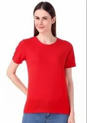 Half Sleeve Round Plain Cotton Red T-Shirt For Men & Women