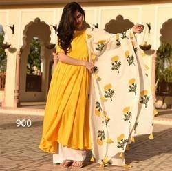 Designer Yellow Palazzo Suit