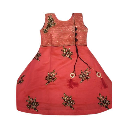 Cotton Sleeveless Embroidered Kids Kurti