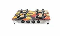 Everest Glass Manual Gas Stove  (4 Burners)