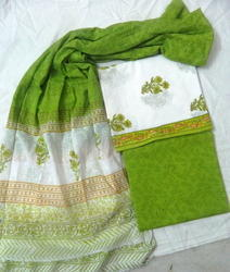 Printed White and Green Cotton Suit