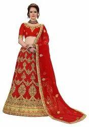 Wedding wear Special Semi-Stitched Net & Dupion Embroidery Bridal Lehanga Choli(LG20)