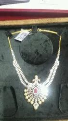 Diamond Necklace With Color Stone