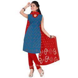 Blue Print Bandhani Suit