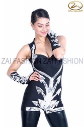 Zai Fashion Black Silver Dance Bollywood Western