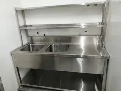 Double Bowl Sink with Table and Two Over Shelf