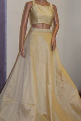 Sleeveless Crop Top And Skirt with Banaras Dupatta