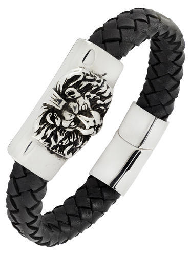 Punk Lion Braided Genuine Leather Stainless Steel Wrist Band Bracelet Men Boys