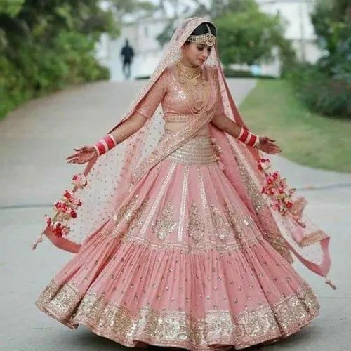 Light Pink Ladies Georgette Bridal Lehenga Choli, Top,Bottom And ...