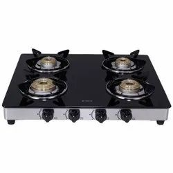 Stainless Steel and Glass 4 Burner Elica Cooktops, Size: 59 cm