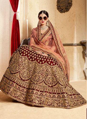 2c4928c4da Kesari Exports Maroon Royal Looks Bridal Lehenga Collection, Rs 5785 ...